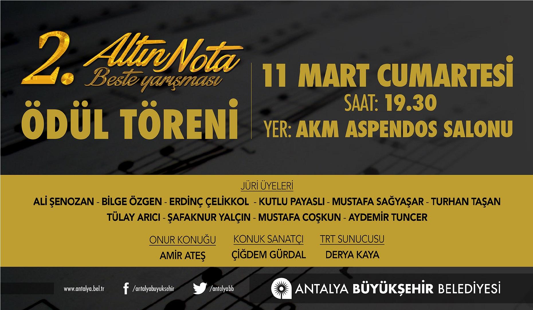 Antalya Büyükşehir Belediyesi 2. Altın Nota Türk Sanat Müziği Beste (Şarkı) Yarışması 2017'' Altinnota Toren 2017 2018
